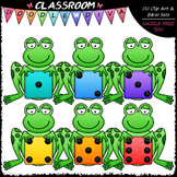 Colorful Dice Frogs Clip Art - Math Clip Art & B&W Set