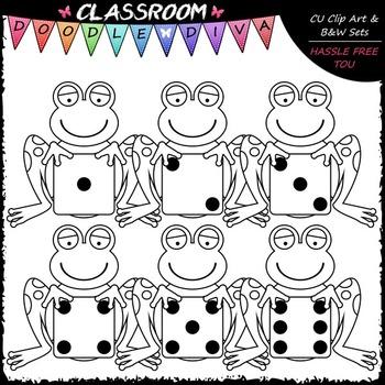 Colorful Dice Frogs Clip Art - Math Clip Art & B&W Set