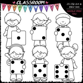 Colorful Dice Kids Clip Art - Math Clip Art & B&W Set