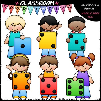Colorful Dice Kids Clip Art - Math Clip Art & B&W Set