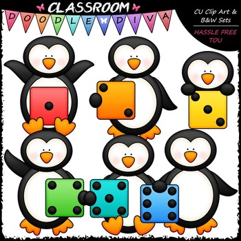Colorful Dice Penguins Clip Art - Math Dice Penguins