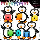 Colorful Dice Penguins Clip Art - Math Dice Penguins