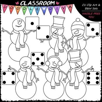 Colorful Dice Snowmen Clip Art - Math Clip Art & B&W Set