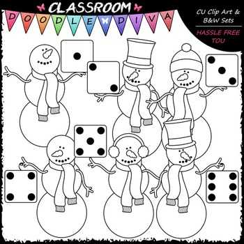 Colorful Dice Snowmen Clip Art - Math Clip Art & B&W Set
