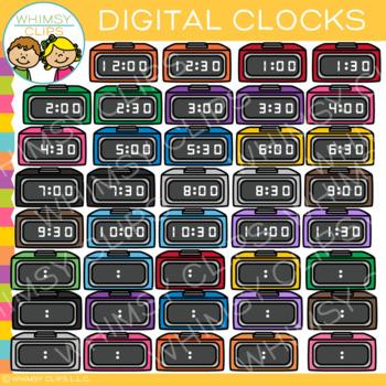 Colorful Digital Clocks Clip Art