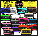 Colorful Digital Clocks Clip Art Bundle {Educlips Clipart}