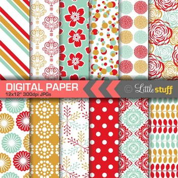 Colorful Digital Paper, Floral & Geometric