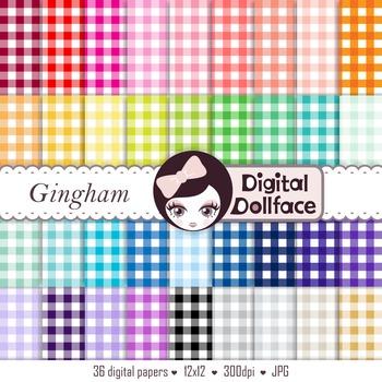 Colorful Digital Paper - Gingham