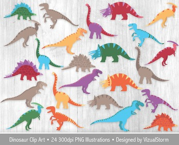 Colorful Dinosaur Clip Art For Kids, 24 Illustrations, Includes Silhouettes