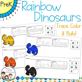 Colorful Dinosaurs Trace Color and Build