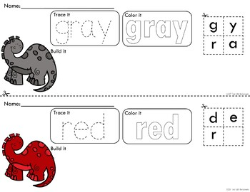 Colorful Dinosaurs Trace Color and Build - Writing Center Activity