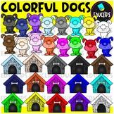 Colorful Dogs Clip Art Bundle {Educlips Clipart}