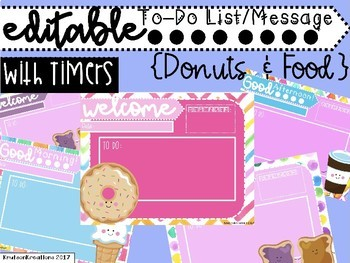 Colorful Donuts & Food To Do Checklist with Timers EDITABLE