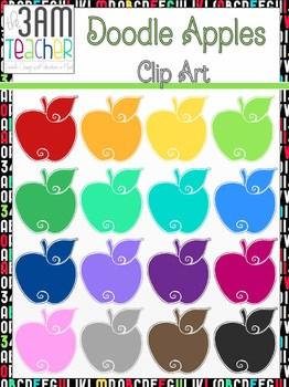 Colorful Doodle Apples: Digital Clip Art / Graphics
