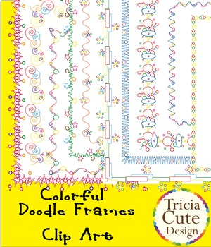 Colorful Doodle Frames Clip Art – in wavy line, stars and circle design