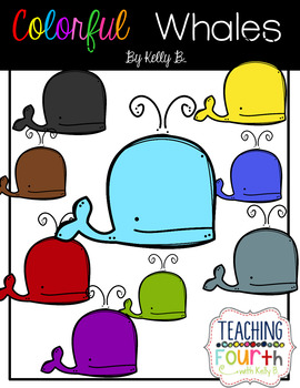 Colorful Doodle Whales by Kelly B