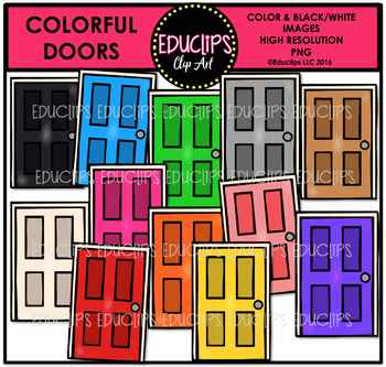Colorful Doors Clip Art Bundle {Educlips Clipart}