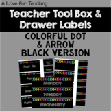 Colorful Black Version Teacher Toolbox and Drawer Labels {Editable}
