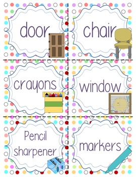 Colorful Dot Classroom Labels with Clip Art