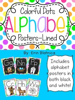 Colorful Dots Alphabet Posters Lined