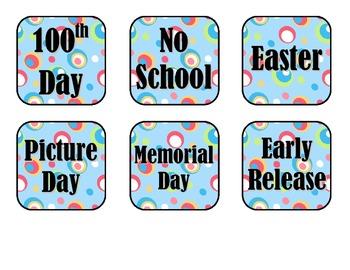 Colorful Dots Calendar Pieces