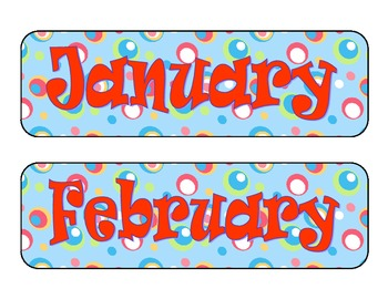 Colorful Dots Calendar Pieces--Printable Months of the Year