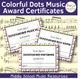 Colorful Dots Music Award Certificates