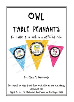 Colorful Dotted OWL Table Pennants