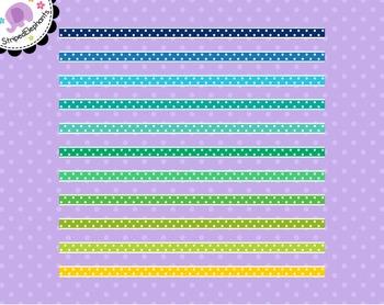 Colorful Dotty Digital Ribbon Borders