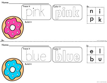 *Updated* Colorful Doughnuts Trace Color and Build Writing Center Activity