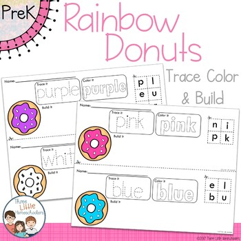 *Updated* Rainbow Doughnuts Trace Color and Build Writing Center Activity