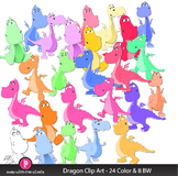 Colorful Dragon Clip Art Commercial Use OK 24 Color and 8