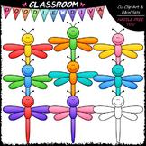 Colorful Dragonflies Clip Art - Dragonfly Clip Art & B&W Set
