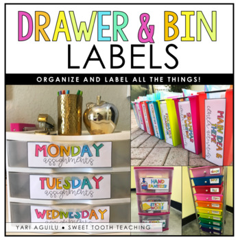Colorful Drawer Labels & Centers Organization (White Background)