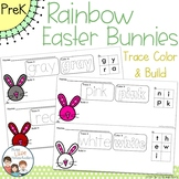 Rainbow Easter Bunnies Trace Color and Build Writing Center Activity