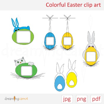 Colorful Easter Clip Art. Rabbit, egg, cat, color, flat, label, space for text
