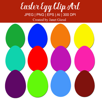 Colorful Easter Egg Clip Art - Set of 12