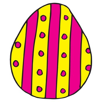 Colorful Easter Egg Clipart   Spring Clip Art   Hand Drawn Digital Drawings