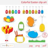 Colorful Easter clip art. Labels, rabbit, cat, egg, banner, tulips, bouquet