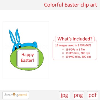 Colorful Easter clip art. Labels, rabbit, cat, egg, banner, tulips, bouquet