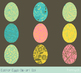 Colorful Easter eggs clip art set, Egg hunt clipart, Painted floral eggs, green
