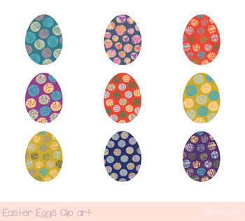 Colorful Easter eggs clipart, Easter egg hunt clip art, Painted eggs clipart set