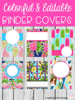 Colorful Editable Binder Covers