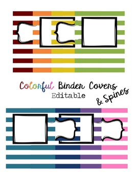 Colorful, Editable, Striped Binder Covers & Spines