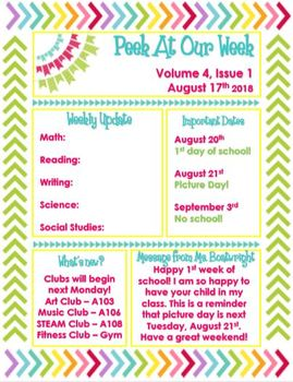 Colorful Editable Classroom Newsletters