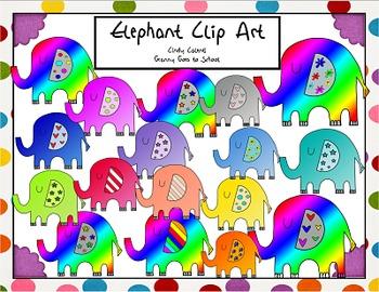 Colorful Elephant Clip Art: 24 Images