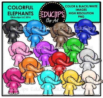 Colorful Elephants Clip Art Bundle {Educlips Clipart}