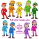 Colorful Elf Sol-fa Clip Art | Kodaly | Curwen Handsigns