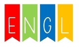 Colorful ''English Corner'' title for bulletin boards