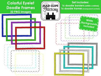 Colorful Eyelet Doodle Frames & Borders